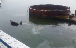 Oil still leaks from the ship.